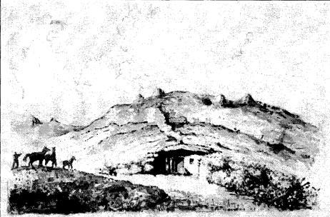 Землянка запорожских казаков. Из альбома худ. Ж.А. Мюнца, 1781 г. Прорисовка Ф. Сорокина