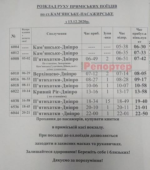 В г. Каменское изменится расписание пригородных поездов Днепродзержинск