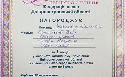 Юные шахматисты г. Каменское получили два комплекта медалей на областном чемпионате Днепродзержинск