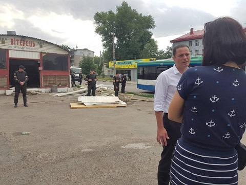 В Каменском демонтировали МАФ Днепродзержинск