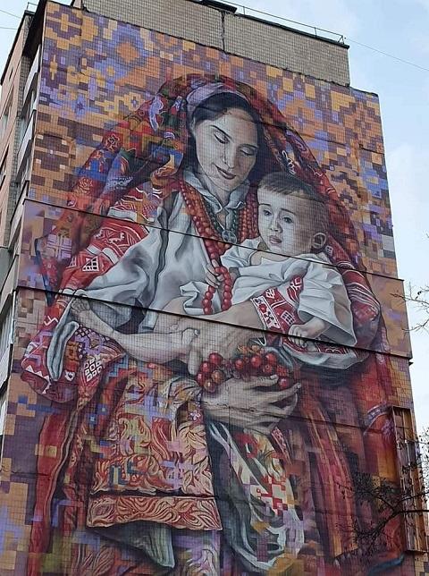 На стене дома с муралом в г. Каменское сделали подсветку Днепродзержинск