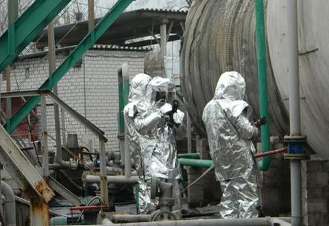 На предприятии Каменского «Августпром» прошли тактические учения спасателей Днепродзержинск