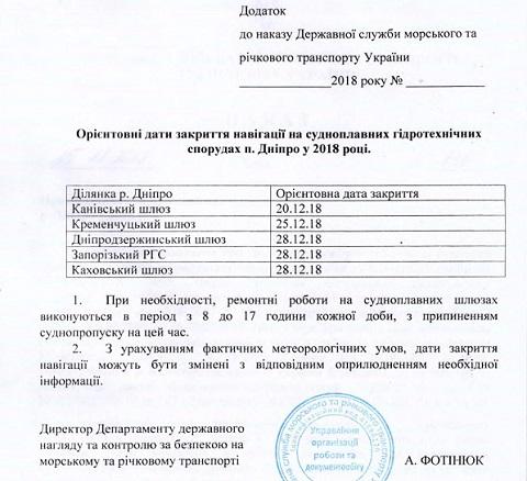 Морская администрация продлила работу Днепродзержинского шлюза до конца года Днепродзержинск