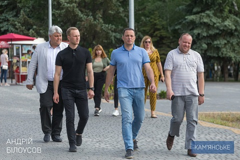 Каменской градоначальник проверил ход работ по реконструкции левобережного парка Днепродзержинск