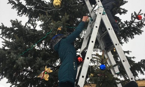 В г. Каменское установили новую елку для жителей Романково Днепродзержинск