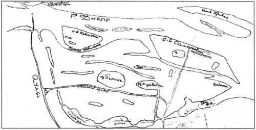 Схема Днепра в районе Романового острова